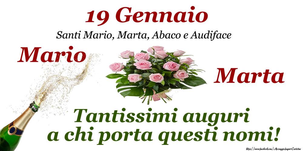19 Gennaio - Santi Mario, Marta, Abaco e Audiface - Cartoline onomastico con santi del giorno