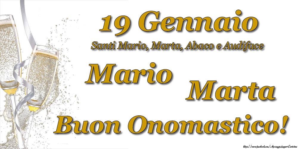 19 Gennaio Buon Onomastico Mario! Buon Onomastico Marta! - Cartoline onomastico con santi del giorno