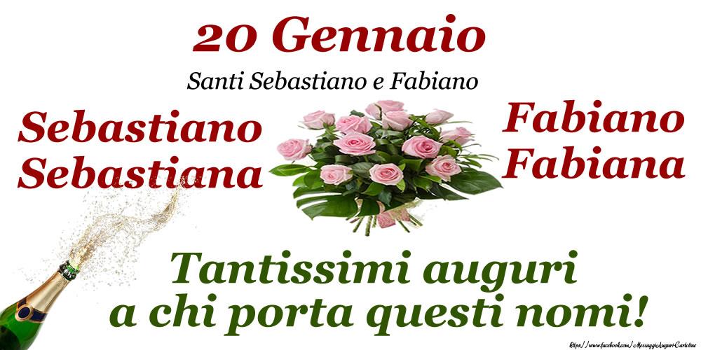 20 Gennaio - Santi Sebastiano e Fabiano - Cartoline onomastico con santi del giorno