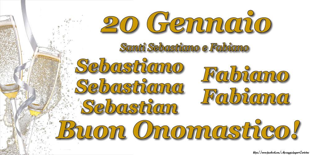 20 Gennaio - Buon Onomastico Sebastiano, Sebastiana, Sebastian, Fabiano, Fabiana! - Cartoline onomastico con santi del giorno