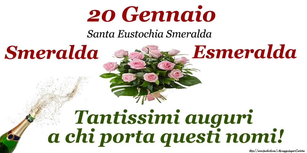 20 Gennaio - Santa Eustochia Smeralda - Cartoline onomastico con santi del giorno