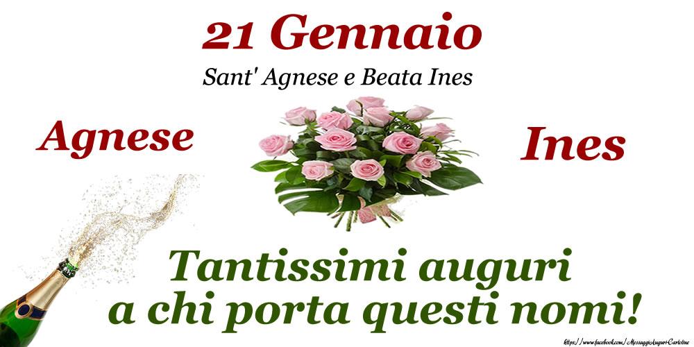 21 Gennaio - Sant' Agnese e Beata Ines - Cartoline onomastico