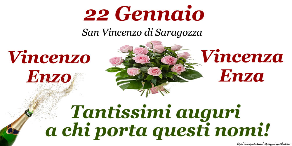 22 Gennaio - San Vincenzo di Saragozza Tantissimi auguri! - Cartoline onomastico