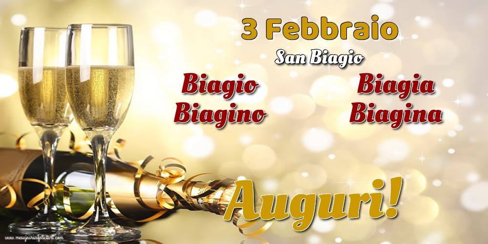 3 Febbraio - San Biagio - Cartoline onomastico