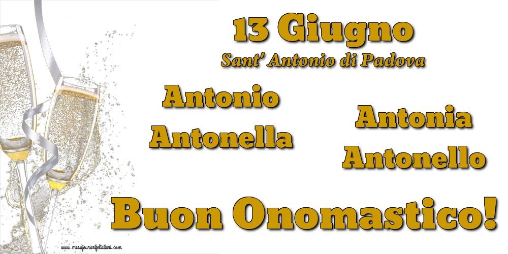 13 Giugno - Sant' Antonio di Padova - Cartoline onomastico con champagne