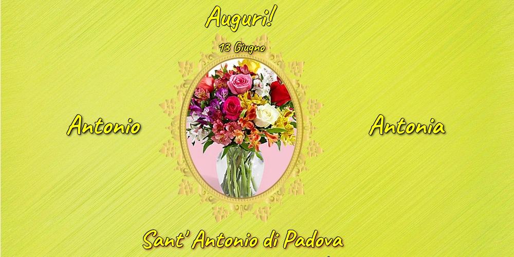 13 Giugno - Sant' Antonio di Padova - Cartoline onomastico con fiori