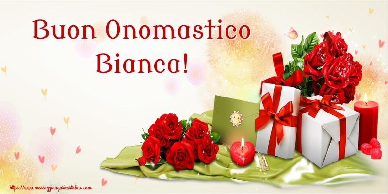 Buon Onomastico Bianca! - Cartoline onomastico con fiori