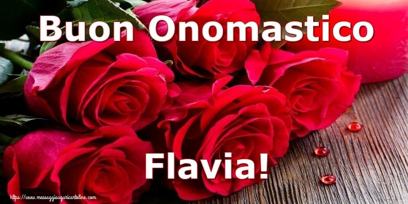 Buon Onomastico Flavia! - Cartoline onomastico con rose